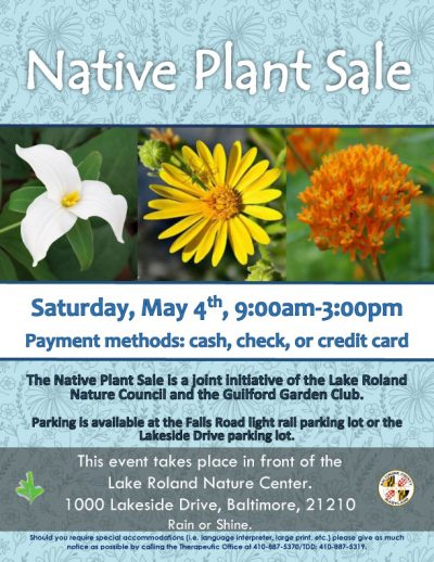 Native Plant Sale, Saturday, May 4, 2019