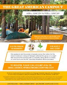 Great American Campout 2017 @ Lake Roland Nature Center   Baltimore   Maryland   United States