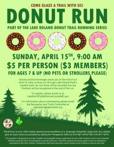 Lake Roland Donut Run Series (April 2018) *Registration Full* @ Lake Roland | Baltimore | Maryland | United States