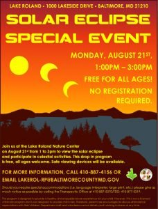 2017 Solar Eclipse Special Event @ Lake Roland Nature Center | Baltimore | Maryland | United States