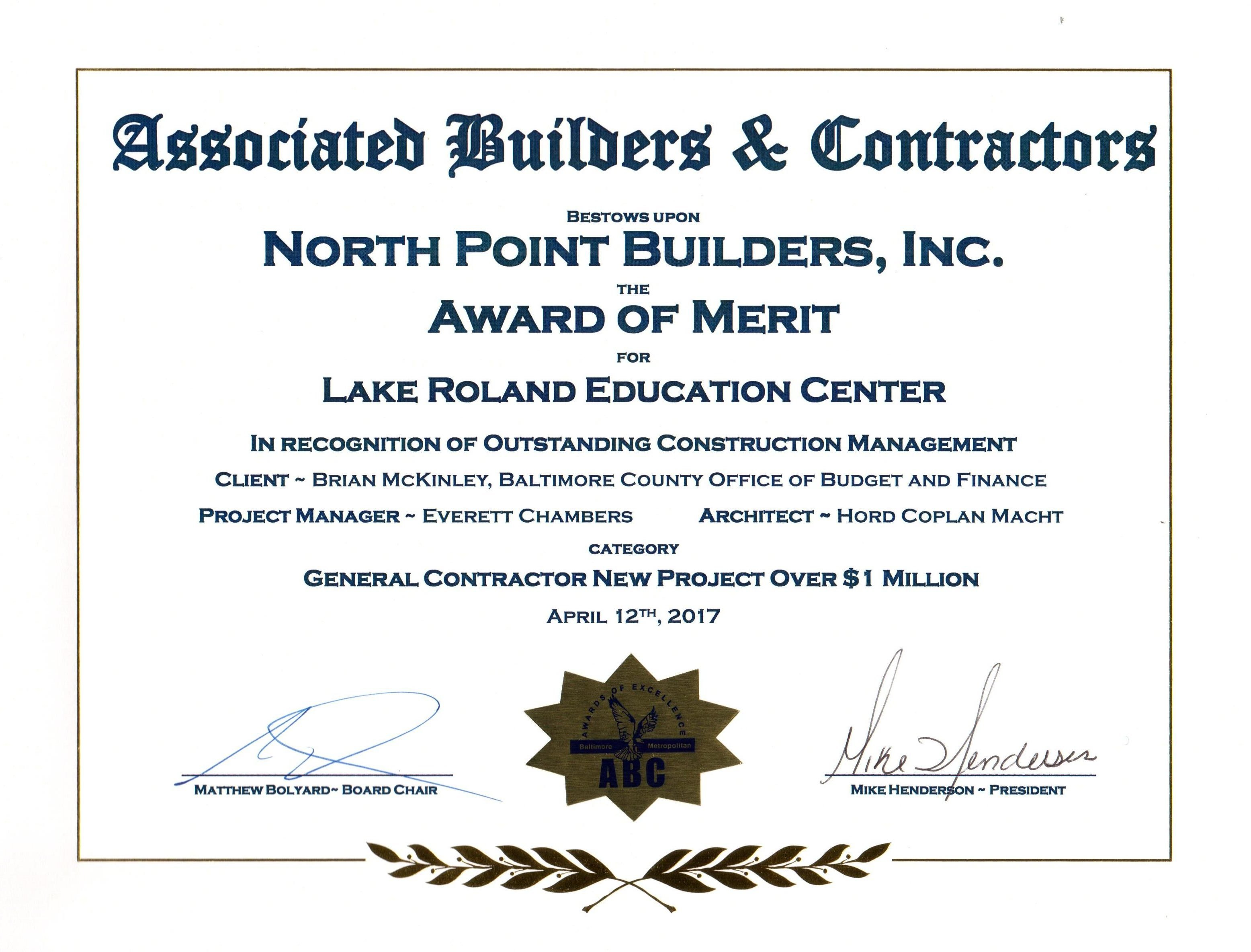 The Nature Center won the prestigious Associated Builders & Contractors Award of Merit