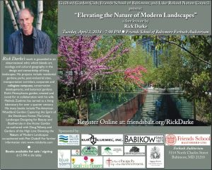 """Elevating the Nature of Modern Landscapes"" a free lecture by Rick Darke @ Friends School of Baltimore - Forbush Auditorium 