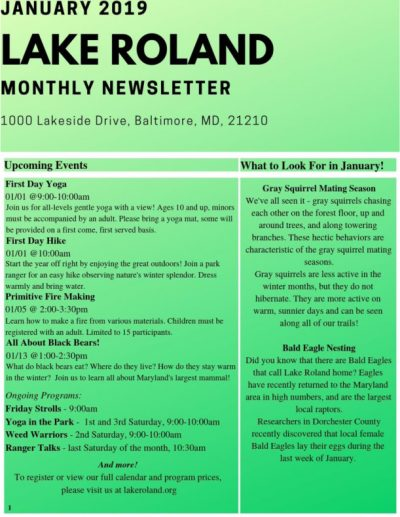 January 2019 Lake Roland Newsletter