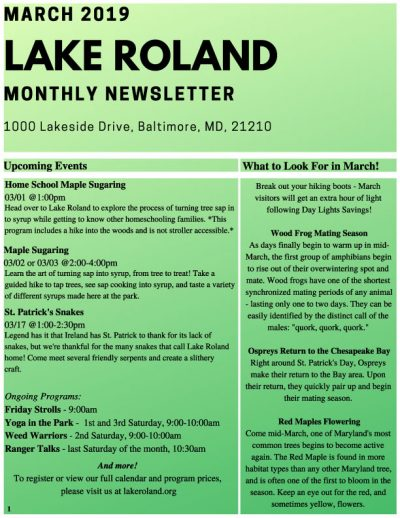 March 2019 Lake Roland Newsletter
