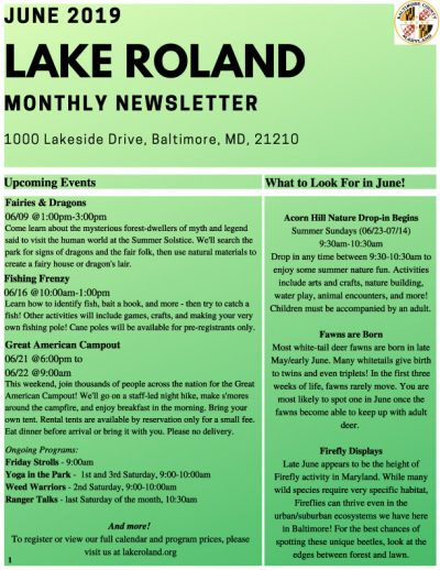June 2019 Lake Roland Newsletter