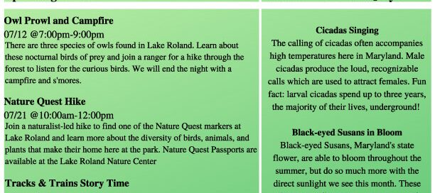 Lake Roland July Newsletter